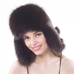 2019 chapéu de pele da rússia Inverno Novo Estilo Genuíno Real Fox Fur Hat Mulheres 100% Natural Real Cap Fox Fur Quente Rússia Bomber Caps chapéu de pele da rússia barato