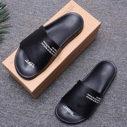 mens leather sandals Promo Codes - New Fashion Summer Slipper Men Comfortable Casual Sandals Brand Designer Slippers Mens Leisure Off Blue Black White Online
