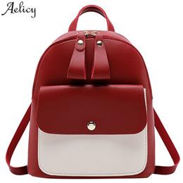 4f2a92674 pequenas mochilas universitárias para mulheres Desconto Aelicy sacos Para  as mulheres Menina de Couro com zíper