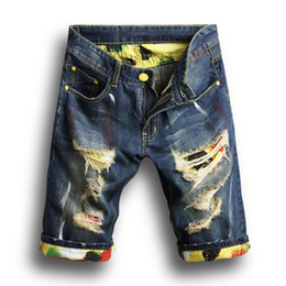 новые модные мужские джинсы Скидка Модные Мужские Джинсовые Джинсы Тонкие Прямые Брюки Тренд Мужские Дизайнерские Брюки Новые Летние Мужские Отверстия Джинсовые Шорты