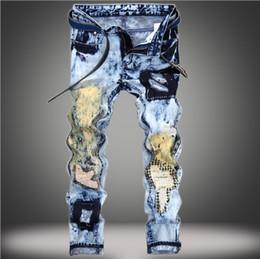 2019 blue jeans de piedra Venta al por mayor- MORUANCLE diseñador para hombre ripped patchwork Jeans Joggers moda pantalones de mezclilla azul impresa piedra desgastada lavado pantalones rebajas blue jeans de piedra