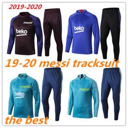 Tuta sportiva calda online-2019 2020 Adulto MESSI Tuta da uomo set allenamento tuta chandal vendita calda 19 20 futbol Tuta da calcio de fútbol