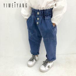 Jeans de cintura alta para meninas on-line-Primavera Calças Novas Crianças Meninas Moda de Alta-cintura Azul Calça Jeans Casual Versão Coreana Elástico Na Cintura Denim Calças Fáceis