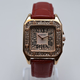 Rhinestone cuadrado online-Rhinestone 35mm banda de cuero de cuarzo cuadrado romano digital de lujo mujeres diseñador reloj dropshipping mujeres oro relojes regalos mujeres reloj de pulsera