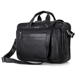 17 bolsas de ordenador portátil para hombres online-Nesitu Oficina Negro Cartera de cuero genuino para hombres Bolsos de mensajero Bolsa de viaje de negocios 14 '' / 15.6 '' / 17 '' Cartera para laptop M7367 # 235470