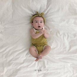 cinturini per tutu della fascia Sconti INS neonati maschietti per bebè estate bambini in bianco con fasce 2 pezzi set verde solido arancione 100% cotone morbidi qualità tutine neonato per neonati