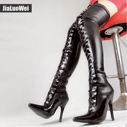 maßgeschneiderte schnürsenkel Rabatt 12CM High Heels Oberschenkel Hohe Stiefel Frauen Schwarzer Schnürer Sexy Fetisch Latex Emulsion Material Overknee Stiefel Maßgeschneiderte BDSM Tanzschuhe Erotik