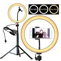 """8"""" LED O Ring Luce selfie di bellezza per Youtube in diretta streaming salone di trucco 16/20 / 26 centimetri di input USB 5V, 3 colori regolabile, supporto per telefono dimmerabile da orologio più sottile fornitori"""