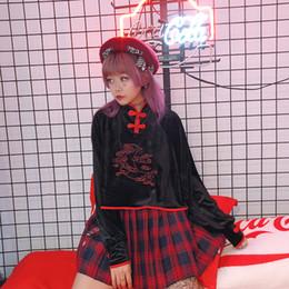 2019 sweatshirt chinesisch 2019 frühling frauen harajuku chinesischen stil schnalle mond stickerei langarm stehkragen samt sweatshirt sweet pullover femme günstig sweatshirt chinesisch
