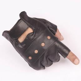 1 пара женская половина палец вождения перчатки кожа PU пальцев перчатки для женщин черный от
