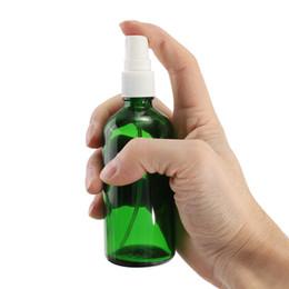 Canada 30pcs 100 ml vert bouteille en verre vaporisateur blanc brume fine pulvérisateur huile essentielle parfum liquide flacon d'eau atomiseur vide contenant de cosmétique Offre