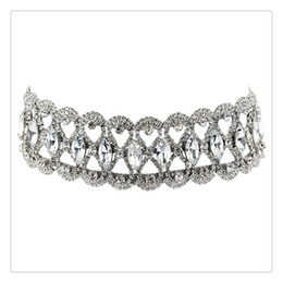 a7136a571b7d anchos collares de plata para mujer Rebajas Hot Wide Waterdrop diamante con  incrustaciones de gargantilla joyería