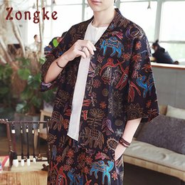 Zongke National Style Linen Kimono Cardigan Coat Japanese Kimono Men Jacket  Streetwear Clothes Mens Jacket Men 2019 New 6cca8a74f