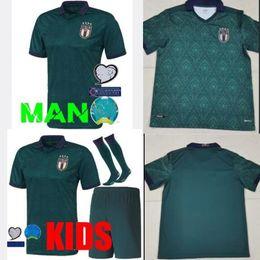 Maillots de foot italie en Ligne-MAN + KIDS 2019 20 Maillot de football Coupe d'Europe ITALIE 19 20 Vert foncé CHIELLINI EL Shaarawy BONUCCI INSIGNE BERNARDESCHI FOOTBALL