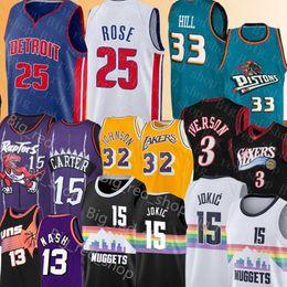 Rosa basquete on-line-NCAA Derrick Rose 25 Nikola 15 Jokic Jersey Universidade Grant 33 Colina Allen Iverson 3 Steve Nash 13 Vince Carter 15 Basketball Jerseys