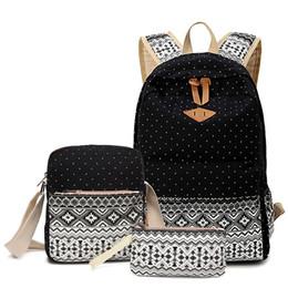 2019 mochilas para as mulheres negras bonito Dot Impressão de Lona Mochila Mulheres Escola de Volta Sacos para Adolescentes Meninas Mochilas de Viagem Set Preto Bonito Feminino Bagpack Mochila # 32982 desconto mochilas para as mulheres negras bonito