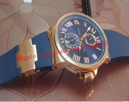 Relógio automático marinho on-line-Hot Sell Luxo Relógio de pulso Marinha Chronometer Dial Azul 18kt Assista Watch Men Mens Rose Gold Rubber Strap automática Moda