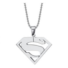 Pendentif acier superman en Ligne-Pendentif en acier inoxydable logo superman pour hommes haute polie anime logo superman sliver couleur homme pendentif petit ami bijoux cadeau