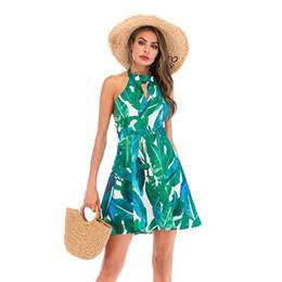 Le donne senza maniche di estate Backless Halter senza maniche foglie stampato principessa abito abiti da spiaggia casual guaina da