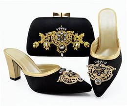 2019 b robes sac à main Les nouvelles femmes noires de mode habillent des chaussures assorties de sac à main avec des pompes africaines de décoration en strass et en métal et un sac QSL009, talon 9CM promotion b robes sac à main