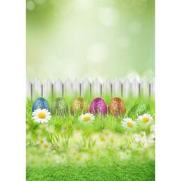 5x7FT Huevos de Pascua felices Hierba verde Margarita blanca Flores Jardín de cerca Estudio de fondo personalizado Estudio de fondo Vinilo 150 cm x 220 cm desde fabricantes