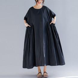2019 vestidos de linho de verão para as mulheres Johnature plus size roupas femininas new summer mulheres dress preto o-pescoço de manga curta vestidos casuais 2019 lençóis de algodão desconto vestidos de linho de verão para as mulheres