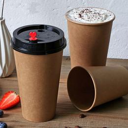 2019 caffè tazza di carta Tazze di caffè usa e getta Kraftpaper Latte Tazza di tè 100x 9oz 12oz 16 oz Kraft Paper PE rivestimento FDA Brown Coffee Cup caffè tazza di carta economici