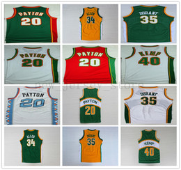 f2851528 Retro Gary 20 Payton Basketball Jersey Yellow Green Ray 34 Allen Kevin 35  Durant Red White All 96 star Shaw 40 Kemp Jerseys on sale