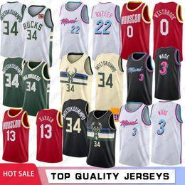 Miami camisa de basquete on-line-NCAA 34 Giannis Antetokounmpo Homens Camisolas de faculdade Miami Heat 3 Dwyane Wade 22 Jimmy Butler Houston Rockets 0 Russell Westbrook 13 James Harden costurado