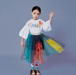 Argentina Muchachas coloridas carta bordado manga de la llamarada niños empalme encaje falbala princesa falda primavera niños encaje tul tutu falda F5085 Suministro