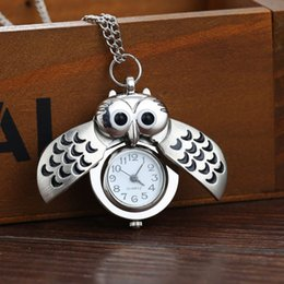 pingente coruja chaveiro Desconto Relógio de Bolso de ouro Casais Do Vintage Relógio de Bolso Colar Coruja Unisex Liga de Bronze Chave Do Carro Pingente de 10 Peças ePacket