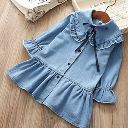 465a0ce8593 Girls Ruffle Princess Denim Dresses with Collar Spring 19 Kids Boutique  Clothing Korean 2-7Y Little Girls Long Sleeves Dresses High Quality