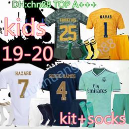Portiere KIDS 19 20 Real madrid Soccer maglie 2019 2020 HAZARD BENZEMA MODRIC isco ASENSIO camiseta de futbol maglie calcio kit + calzini supplier xs jersey da maglia xs fornitori