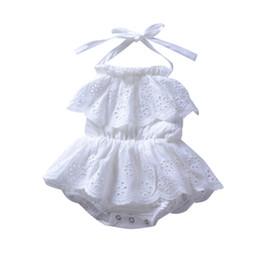 Canada Été bébé garçon vêtements fille creux dos blanc combinaison blanche bébé fille mignonne vent nuque robe sans manches Offre