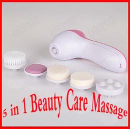 Têtes de brosse nettoyantes pour le visage en Ligne-Outils de nettoyage du visage 5 en 1 multifonction électrique visage brosse de nettoyage du visage soins de la peau Appareil de massage avec 5 têtes de remplacement différentes