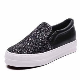 b52c08627592 flat girl platform shoes Promo Codes - Bling Platform Loafers Women Sneakers  PU Leather Ladies Flat