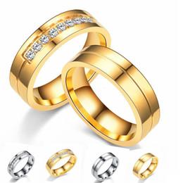 diamante de ouro coreano Desconto Aço Inoxidável 316L Casal Diamante Anéis Versão Coreana Zircão Micro-embutido 18 K Anel de Ouro de Ouro E Tamanho # 5- # 14 10 pçs / lote