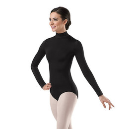 traje verde metalizado Rebajas Las mujeres de manga larga negro leotardo de cuello alto de ballet Dancewear Lycra Spandex Leotards Body Yoga gimnasia trajes Unitard