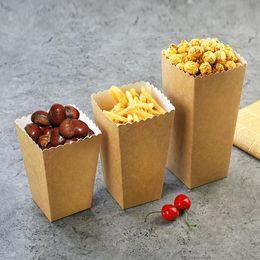 fast-food-pakete Rabatt Einweg Kraftpapier Popcorn Cup Snack Papier Box Pommes Box Solide Fast Food Dickbehälter Kino Paket Cup SN3255
