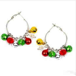 jingle bell ball Rebajas Ornamento de joyas pendiente mayor de la Navidad de Colorfull cascabeleo de Bell pendientes del aro bolas de cristal para las mujeres del partido regalos