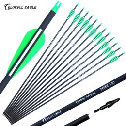 "Setas de carbono on-line-New Carbon Seta 28 ""30"" 31"" Penas Archery Arrows Spine500 mutável Setas plásticas para a caça arco composto Arrows"