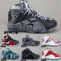 6bf5e4aa5fca New Arrival Lebron 12 XII P.S Elite Rainbow Basketball Shoes for Top  quality 12s Black White Green Red Men Sports Sneakers Size 40-46