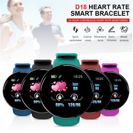 Android-uhren wasserdicht online-D18 Smart Watch Männer Frauen Blutdruck Runde Smart-Wristwasserdichte Sport Smart Watch Fitness Tracker für Telefon Android IOS