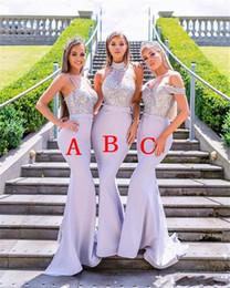 Estilo sirena más tamaño vestidos de dama de honor online-Estilos mixtos Lavanda Sirena Damas de honor Vestidos para bodas occidentales Encaje Apliques de lentejuelas Invitación de boda larga Viste tamaño más por encargo
