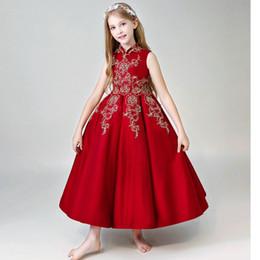 Платья из красного золота онлайн-Красное Золото Вышивка Маленькие Девочки Pageant Платья Высокая Шея Замочная Скважина Назад на шнуровке Платье Девушки Цветка Первое Причастие Платья Holy Toddler Party