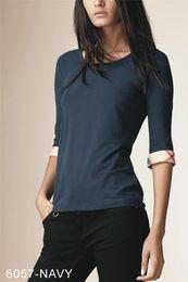 nueva camisa de marca negra Rebajas Nuevo diseño 2019 Nueva media manga de algodón o-cuello camiseta marca de moda de alta calidad a cuadros damas camisetas negro blanco rosa S-XXL