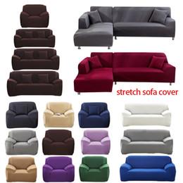 Sala de estar on-line-1/2/3/4 Seater Sofa capa de poliéster cor sólida antiderrapante Couch Tampa estiramento Móveis Protector Sala Capa Sofa