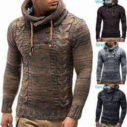 Sonbahar ve Kış erkek Yüksek Yuvarlak Boyun Kazak Uzun Kollu Kazak Üst Çiçek Kruvaze Kapüşonlu Ince Kazak cheap men double breast sweater nereden erkekler çift göğüs süveter tedarikçiler