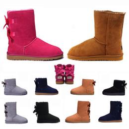 botas de tornozelo nu Desconto Joelho clássico Snow Austrália Botas WGG Vintage tornozelo Bailey Bow Knot Moda luxuosa da Mulher Botas crianças meninas Aqueça pele do inverno Shoes