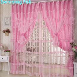 cortinas de quarto roxas Desconto Cortinas de Renda artesanal Para O Quarto Das Meninas Rosa / roxo Lace Sheer Curtains Crianças Quarto 3 Camadas Cortina Da Janela com Voile Blind
